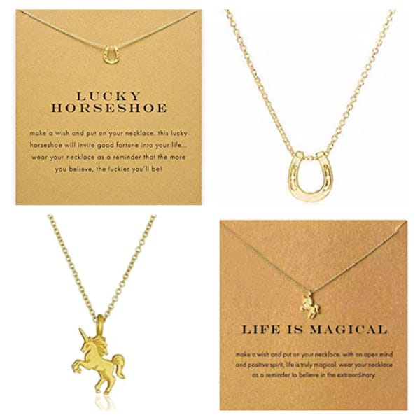 Lucky Horseshoe and Magical Unicorn Necklaces