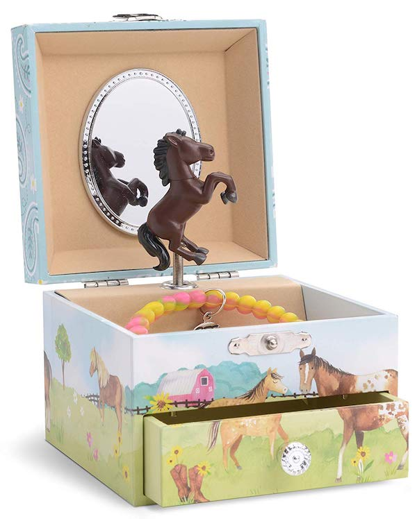 Horse and Barn Girls Musical Jewelry Box