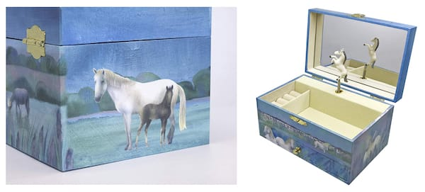 Blue Horse Themed Musical Jewelry Box