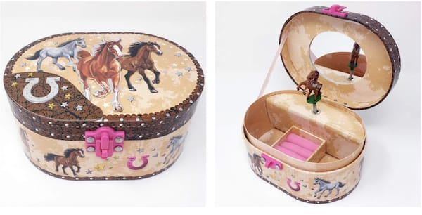 Oval Shaped Darling Horse Musical Jewelry Box