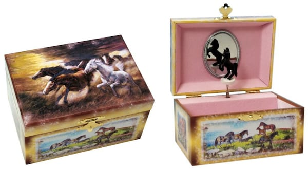 Pink Horse Themed Musical Jewelry Box