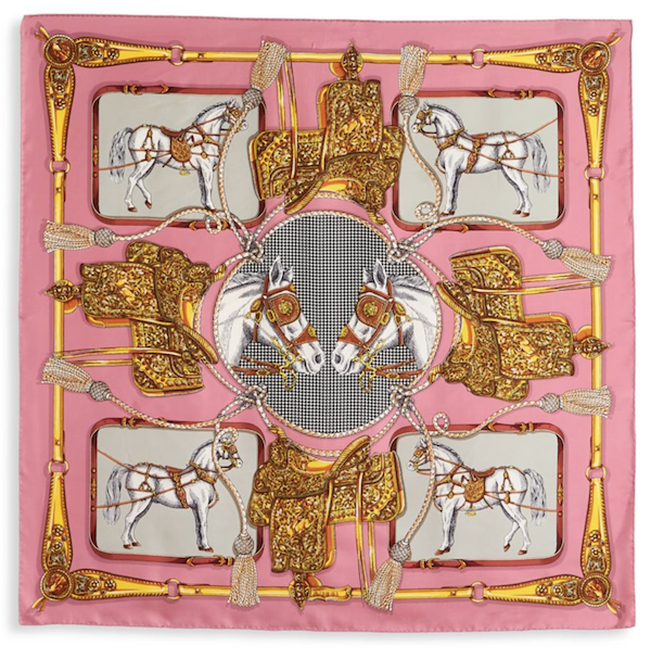 Gucci Silk Scarf with Horses and Tassels